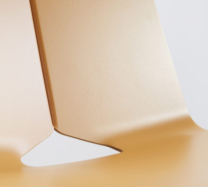 Detail of a stackable chair suitable for hospitality use