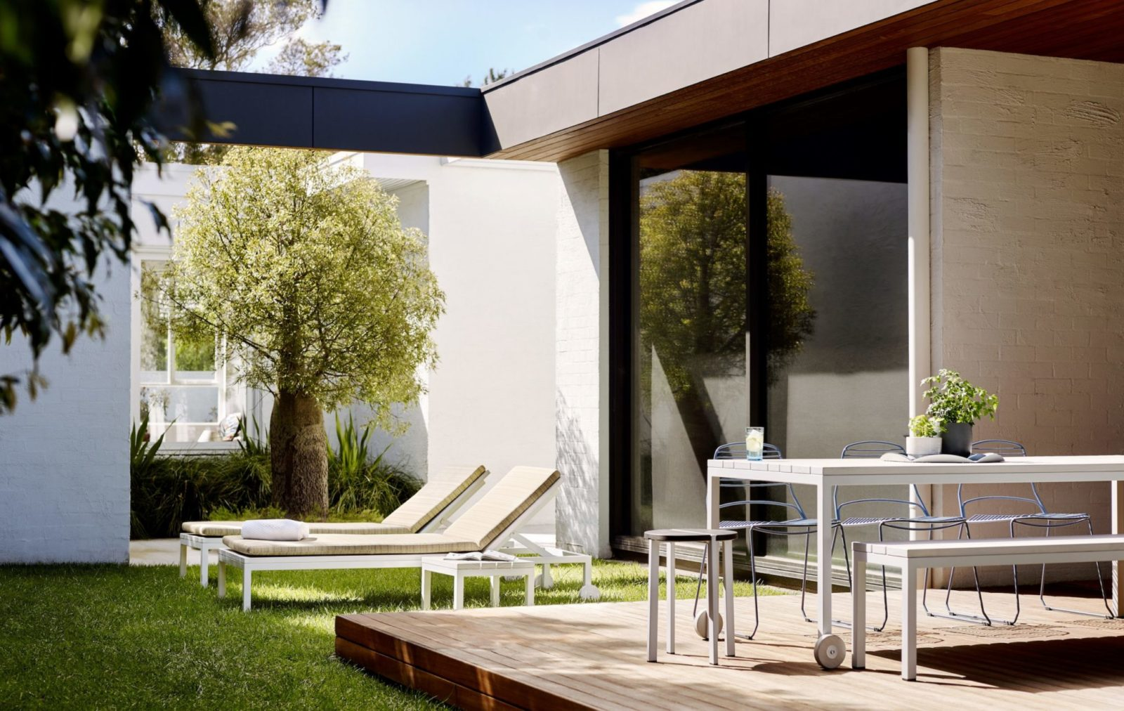 Clean lines and a cool aesthetic define Linear Modern Outdoor Bench Seat, with irregular slats adding optical texture to each form.