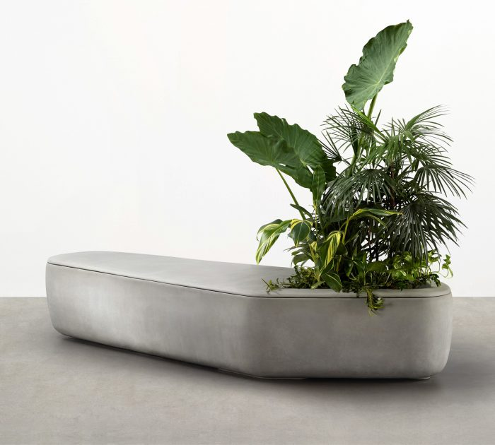 lightweight concrete planter seat