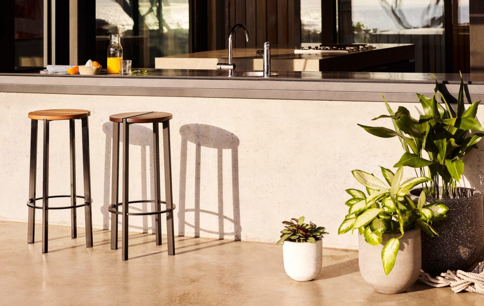 A contemporary indoor-outdoor barstool, the Stripe Stool by Tait looks exquisite in all residential and commercial environments.